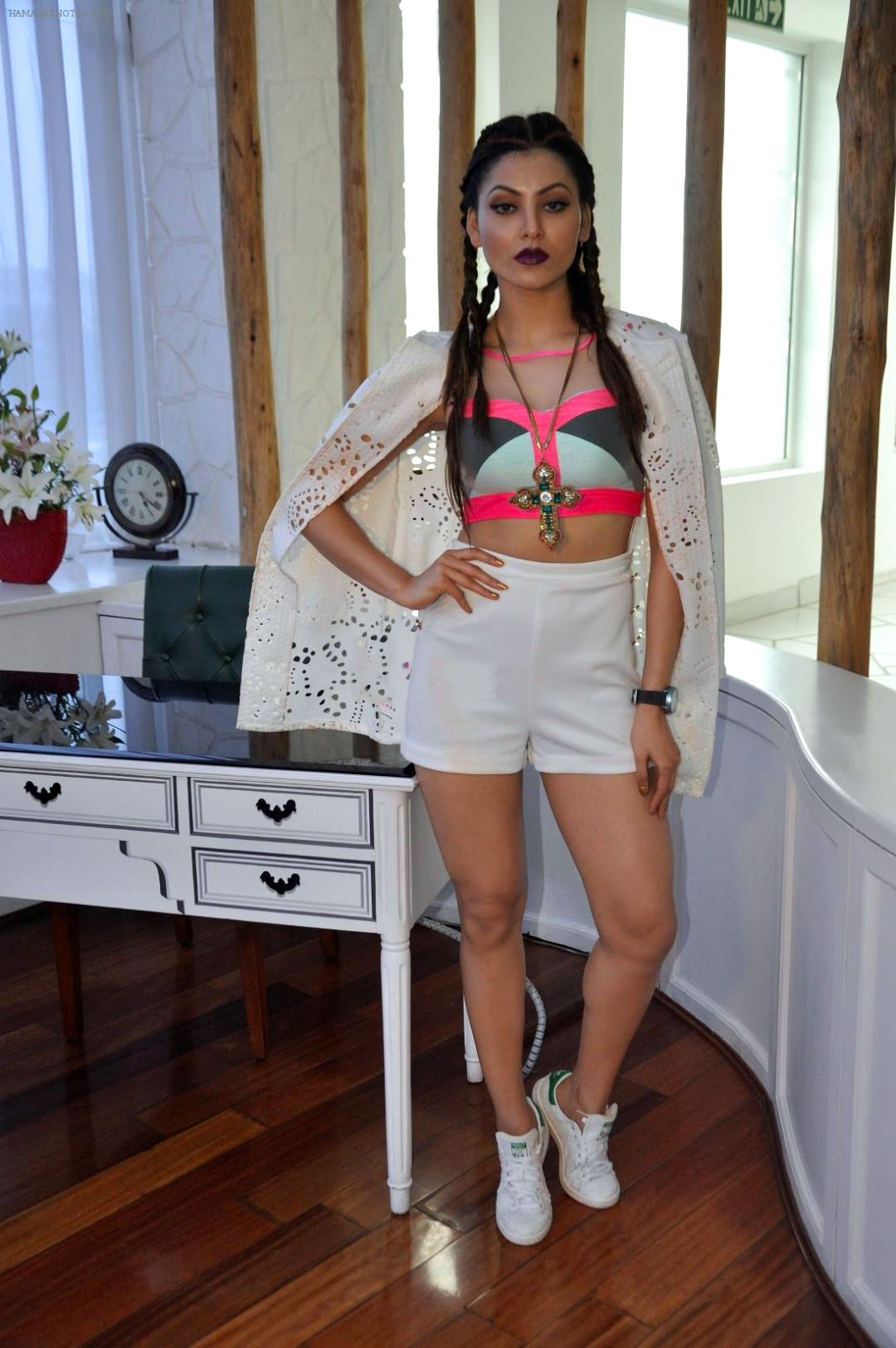 Urvashi Rautella in Sports bra and Shorts at Exhibit Magazine Cover apage launch