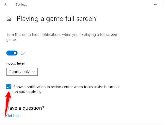 تعطيل إشعارات التركيز في Cortana