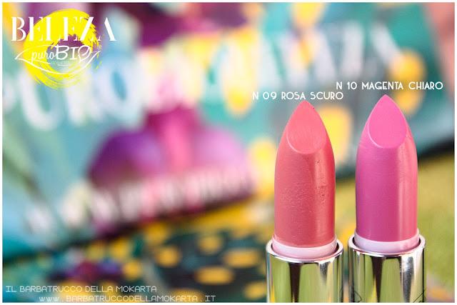 beleza purobio collezione  lipstick 9 e 10 magenta chiaro rosa scuro review