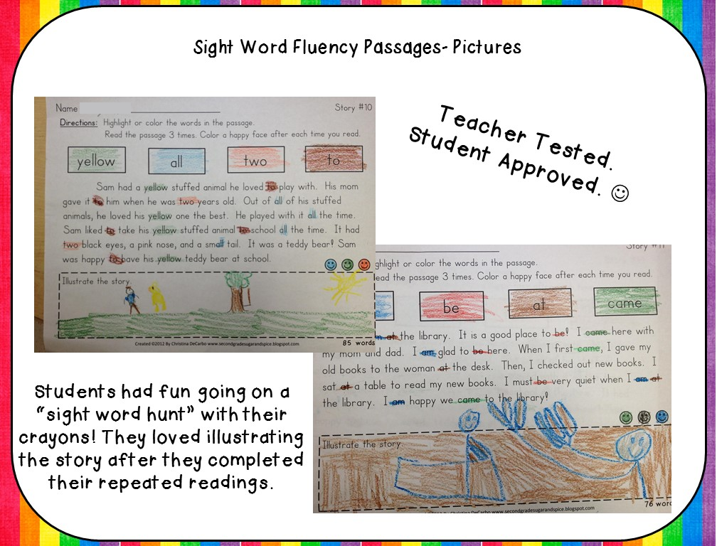 Sight Word Fluency Passages For Reading Intervention Miss Decarbo