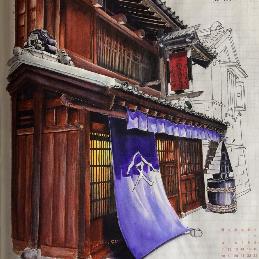 09-Fukagawa-Edo-Museum-Rihiko-Architectural-Travel-Drawings-and-Painting-www-designstack-co