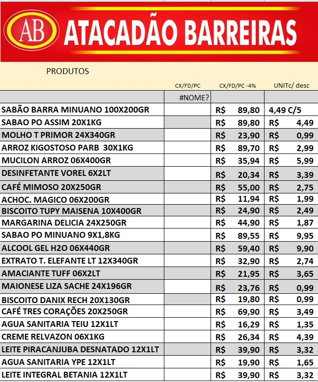 VEJA AS OFERTAS DO ATACADÃO BARREIRAS