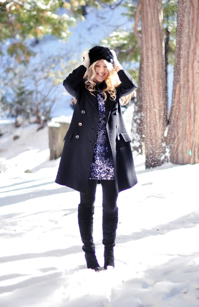 sequins in the snow
