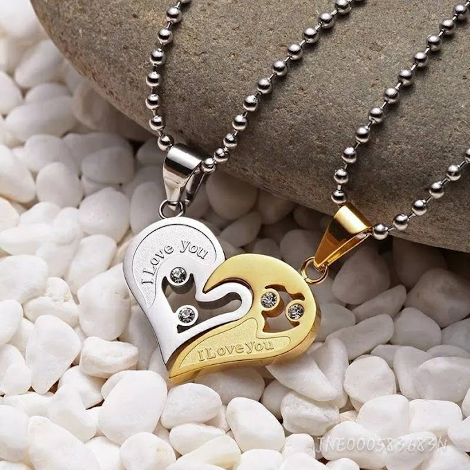 2 Pcs Simple Love You Stainless Steel Broken Two Heart Pendant Men Couples Chain Necklace