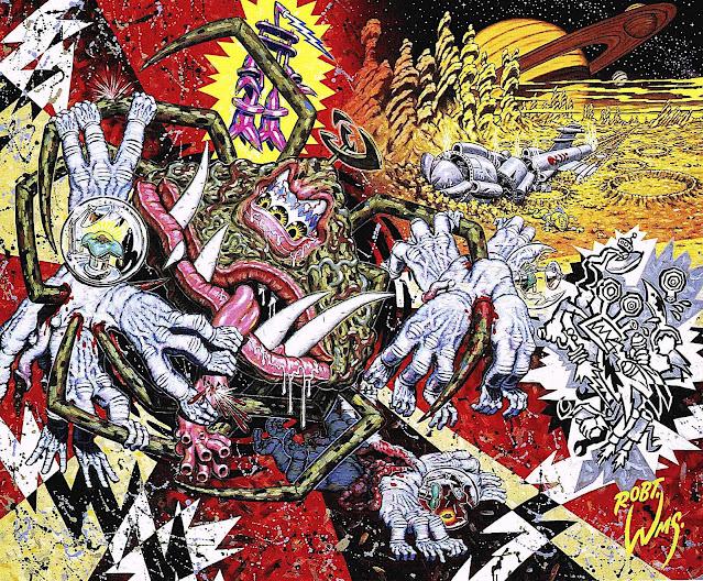 Robert Williams art, alien creatures at war with each other