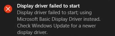 """Bagaimana cara memperbaiki error """"Display driver failed to start. Display driver failed to start; using Microsoft Basic Display Driver instead. Check Windows Update for a newer display driver"""" pada Windows 8 dan 10 ?"""