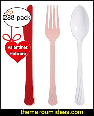 Valentine Flatware Party Supplies, Plastic, Includes 96 Forks, 96 Teaspoons and 96 Knives, Assorted Colors