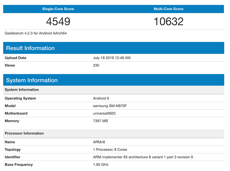 Alleged Samsung Galaxy Note10 GeekBench score