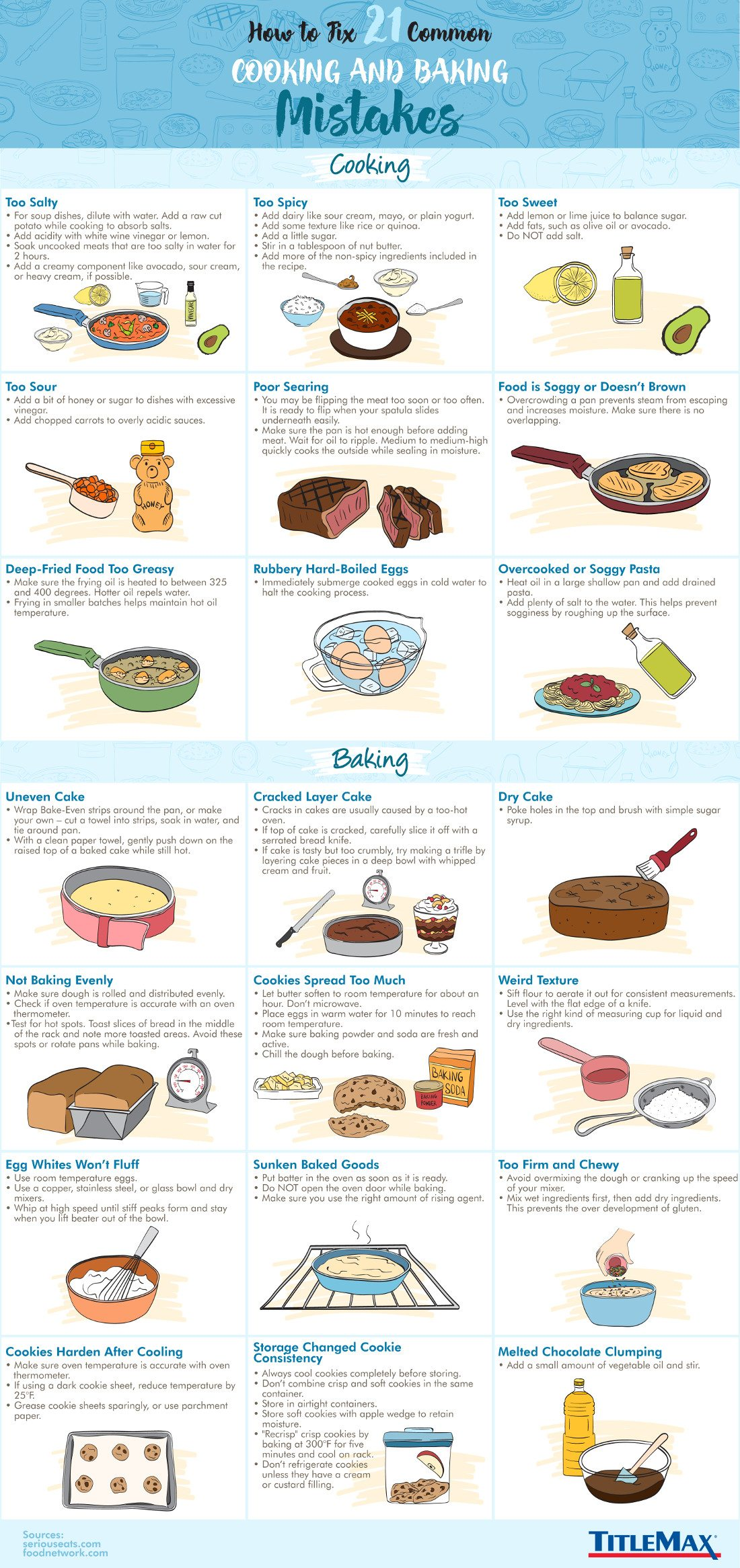How to Fix 21 Common Cooking and Baking Mistakes #infographic