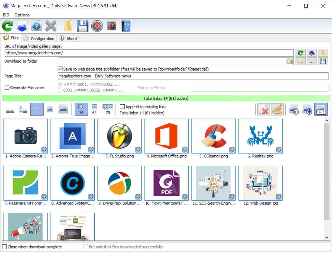 Bulk Image Downloader Main Interface Screenshot