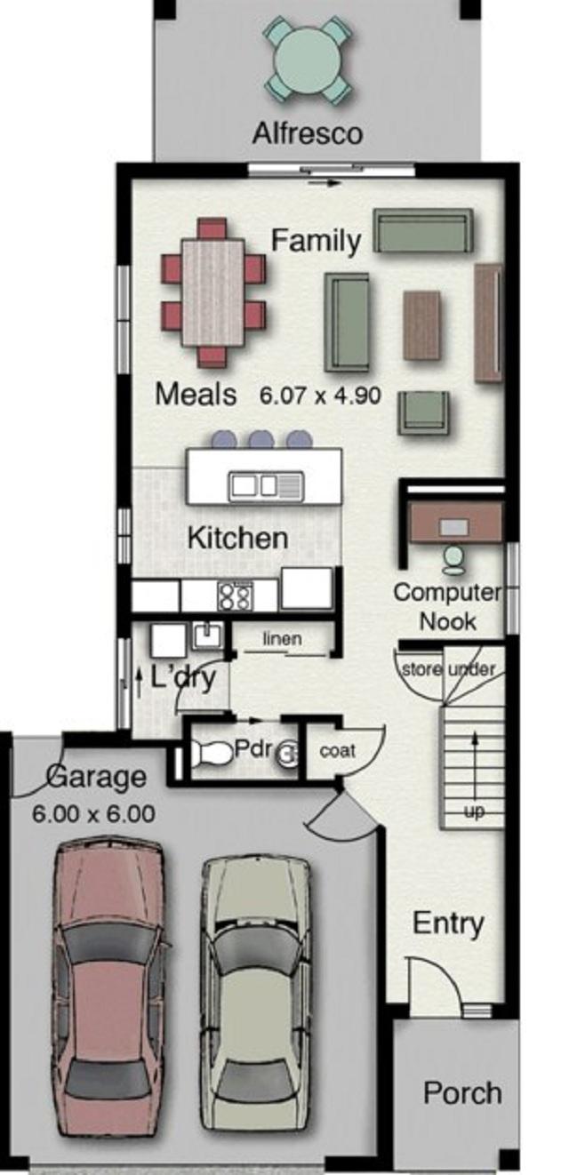 Plano de casa de dos pisos con estilo minimalista planos for Casa minimalista planos