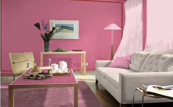 Kombinasi Ruang Tamu Dengan Warna Pink