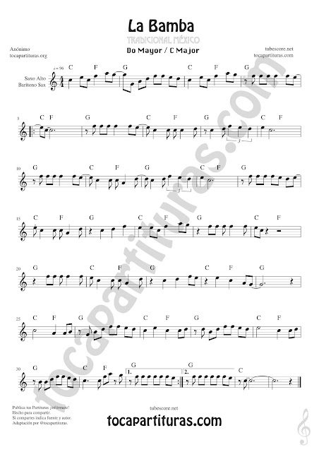 La Bamba Sheet Music for Alto and Baritone Saxophone Music Scores