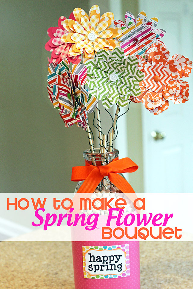 how to make a spring flower bouquet, spring flowers craft, paper craft