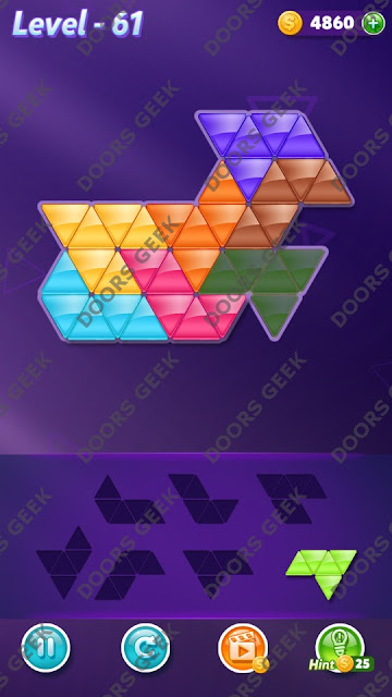 Block! Triangle Puzzle 7 Mania Level 61 Solution, Cheats, Walkthrough for Android, iPhone, iPad and iPod