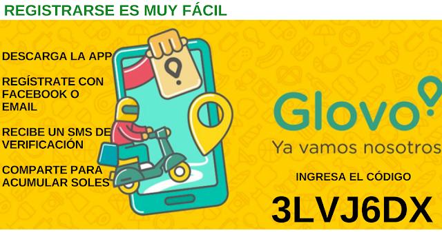 INGRESA EL CODIGO PROMOCIONAL GLOVO APP -> 3LVJ6DX
