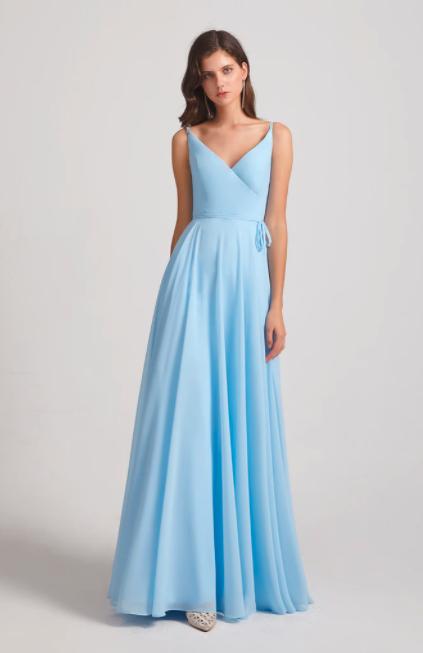 Pleated A-line Spaghetti Straps V-neck Chiffon Bridesmaid Dresses