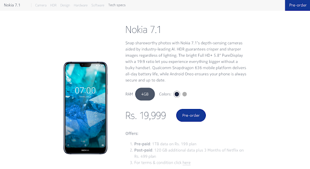 Nokia 7.1 price in India
