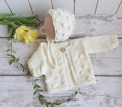 cream baby sweater jumper and bonnet set popcorn bobbles