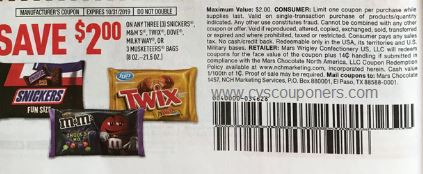 "$2.00/3 Mars Candy Coupon from ""RMN"" insert week of 9/22(EXP 10/31). PAY OOP= $4.00"