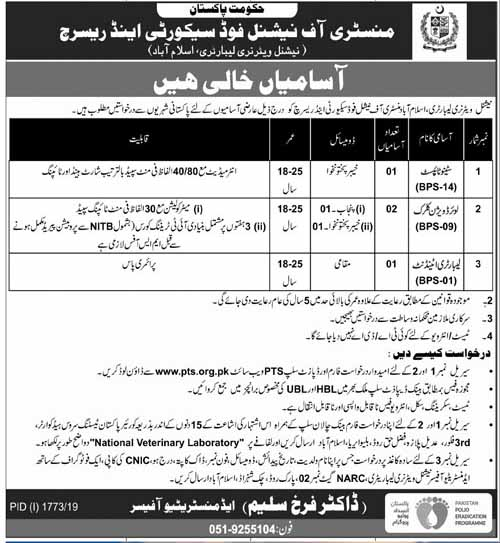 Ministry of National Food Security & Research Islamabad PTS Jobs