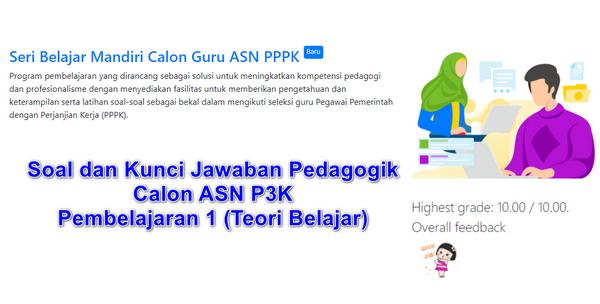 Soal dan Kunci Jawaban Pedagogik Pembelajaran 1 (Teori Belajar) Calon ASN P3K