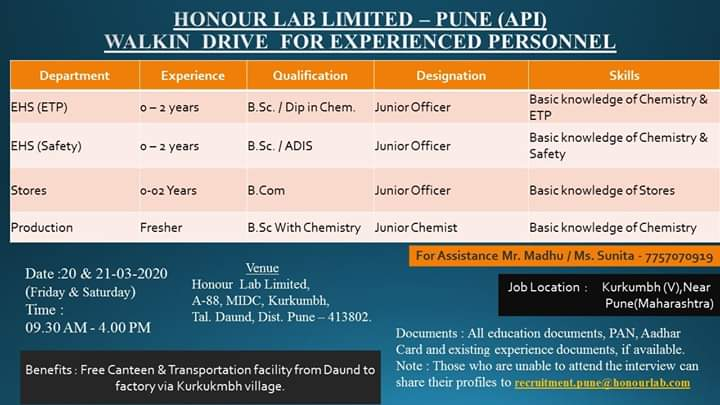 Honour Lab Limited – Walk-In Drive for Freshers & Experience – Production | Stores | EHS | ETP on 20th & 21st Mar' 2020