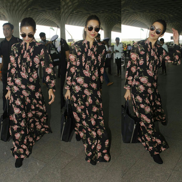 Malaika Arora In pasha India dress at Mumbai airport