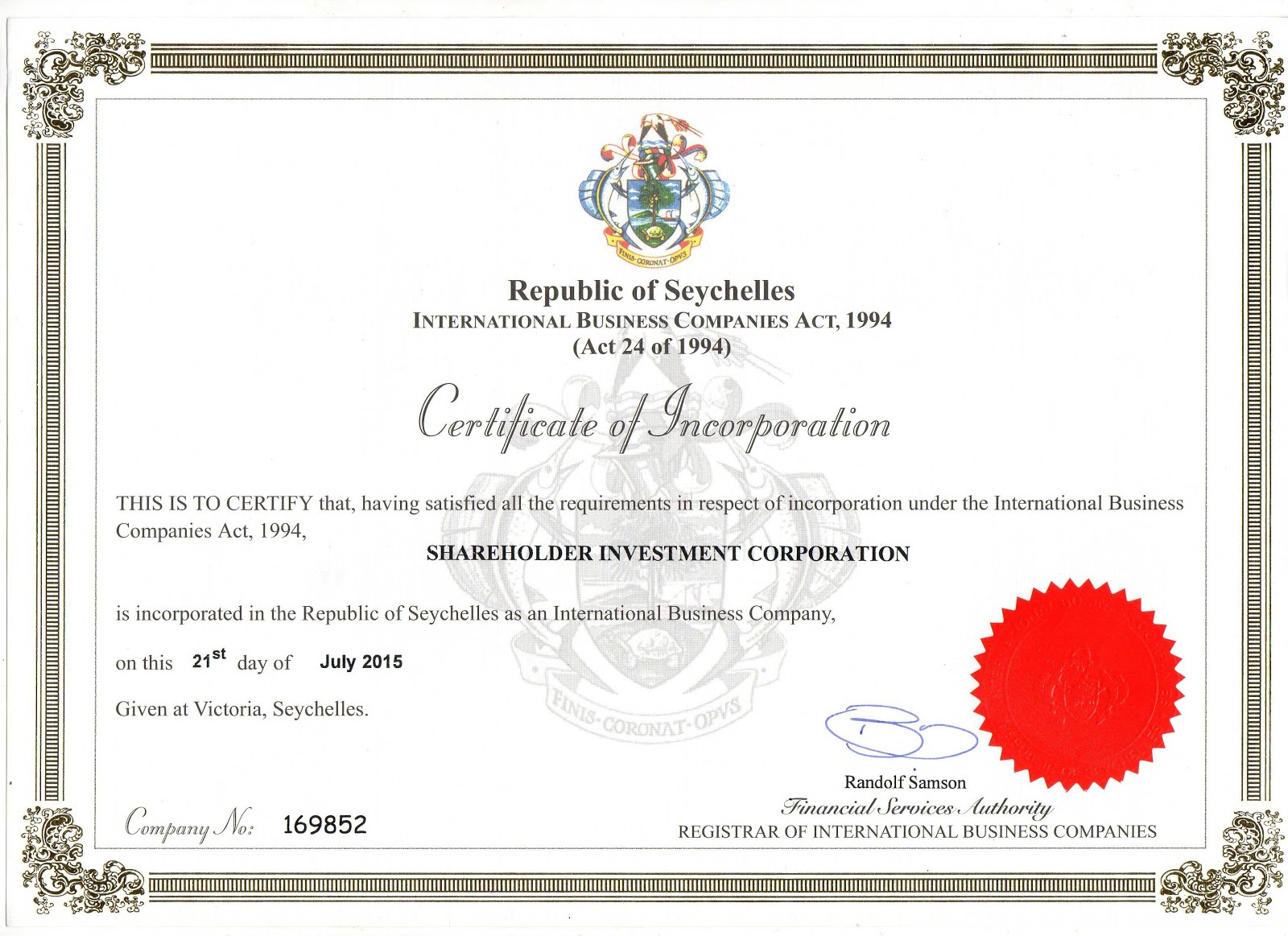 Регистрационное свидетельство Shareholder IC