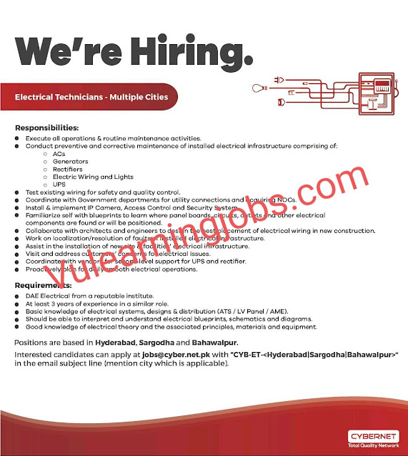 Cybernet Jobs 2020 In Pakistan For Electrical Technician Latest