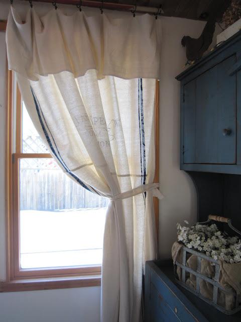 Pennies Primitives Grain Sack Inspired Curtains
