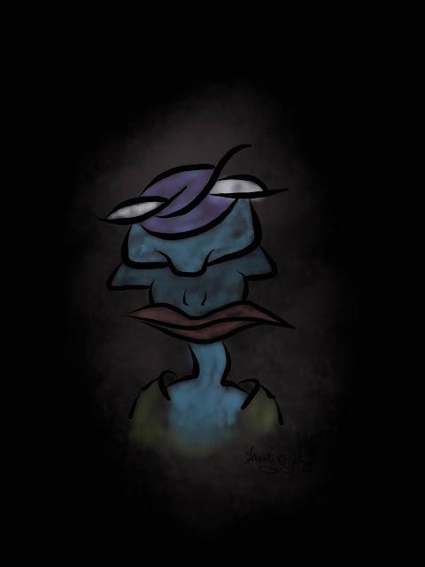 art of a dark creature slightly illuminated