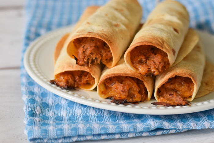 Baked Cheesy BBQ Pork Taquitos