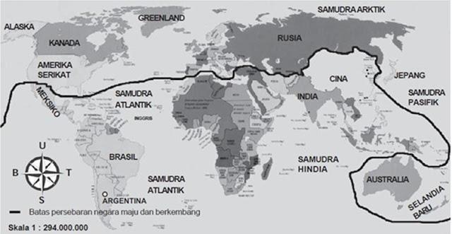 peta persebaran antara negara maju dan berkembang