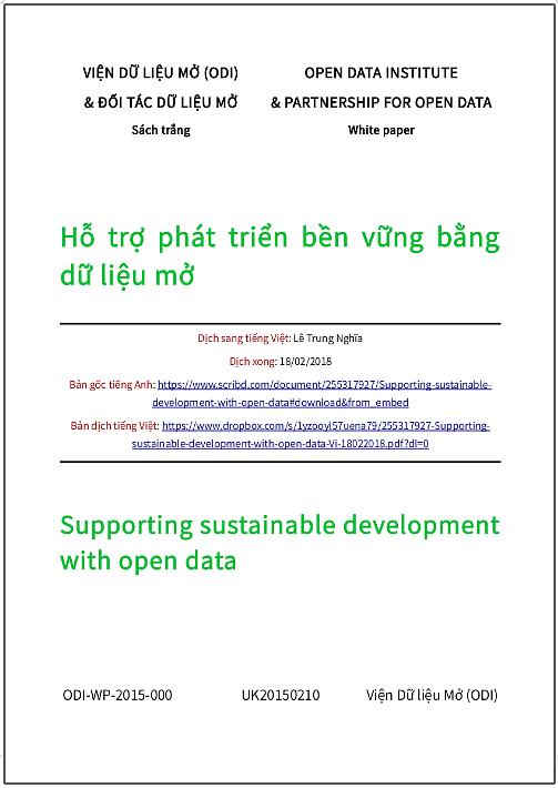 'Hỗ trợ phát triển bền vững bằng dữ liệu mở' - bản dịch sang tiếng Việt