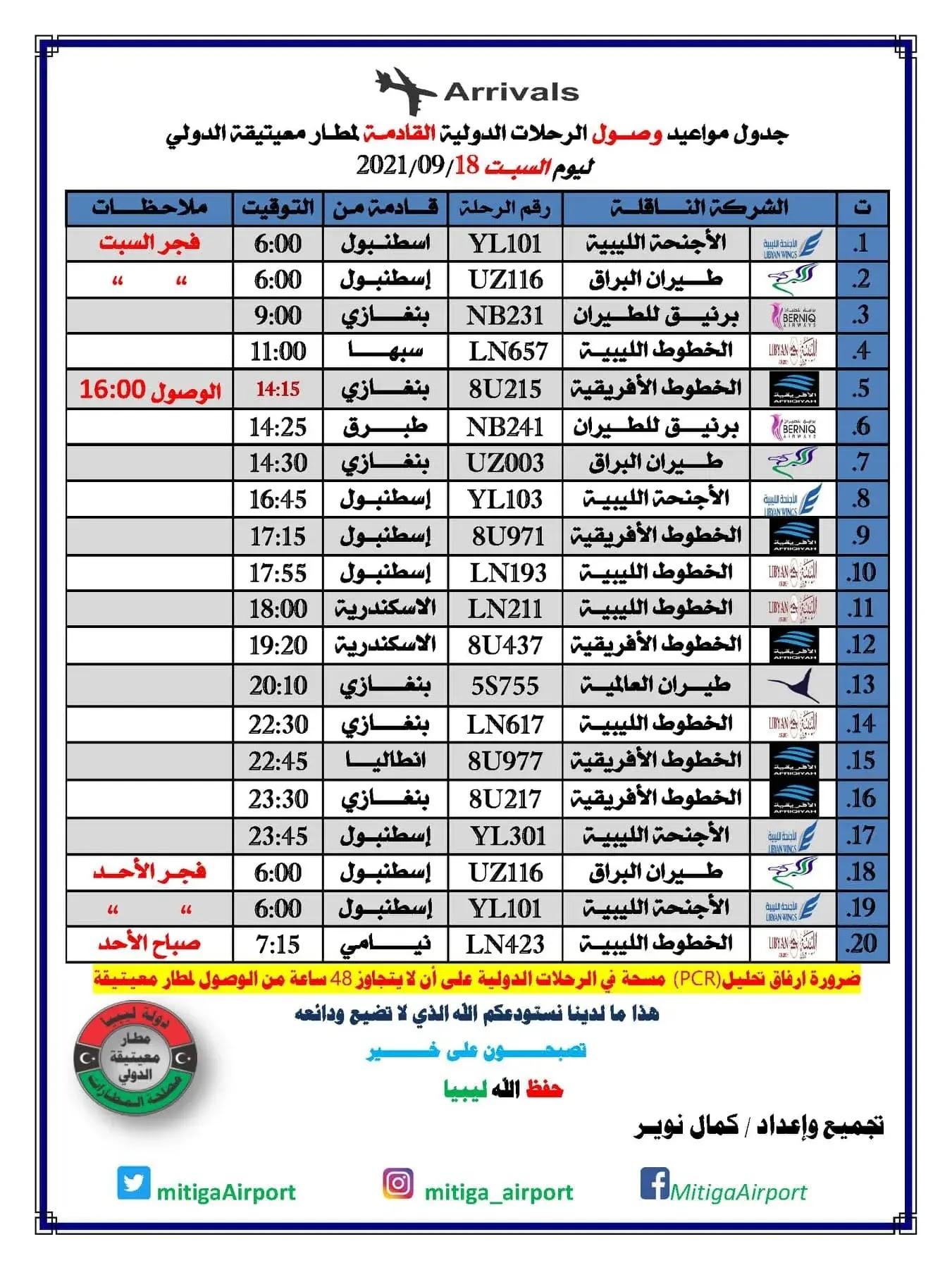 رحلات مطار معيتيقة الدولي السبت 18-09-2021م