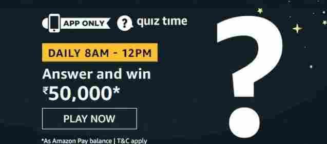 Amazon quiz 9 July 2020 Answers today | Win Rs.50000 Amazon Pay Balance