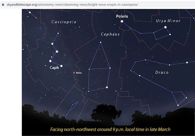 Notice of the location of the supernova in Cassiopeia (Source: Sky and Telescope)