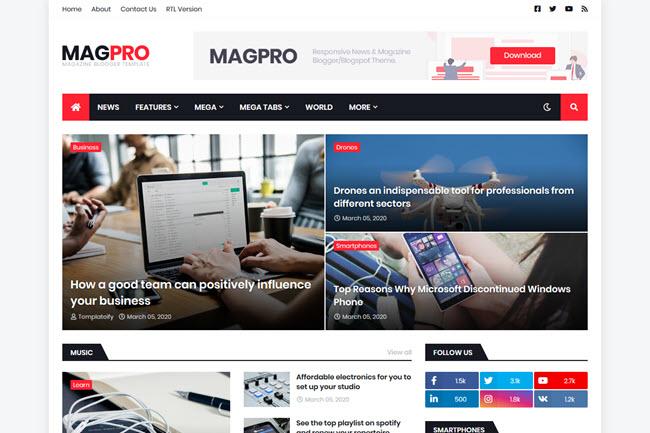 Template MagPro para Blog de Notícias e Revista | Blogger responsivo