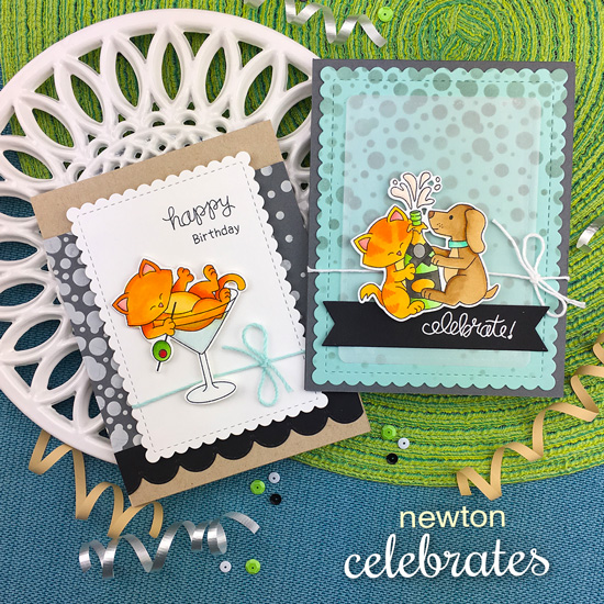 Celebration cards by Jennifer Jackson | Newton Celebrates Stamp Set and Bubbly Stencil by Newton's Nook Designs #newtonsnook #handmade