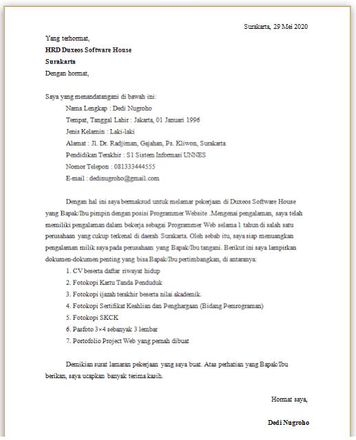 Contoh Surat Lamaran Kerja Programmer