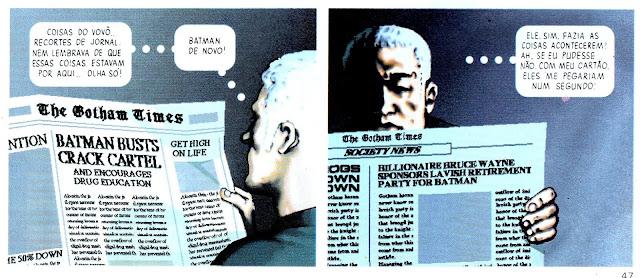 Detalhe do quadrinho Batman Digital Justice que mostra o neto do Comissário Gordon encontrando recortes de jornal sobre o Batman em um Gothan city do futuro