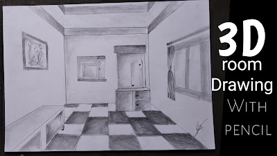 Room 3d drawing, room drawing with one point perspectives, 3d room drawing, drawing for begginers, room drawing step by step tutorial, room designs