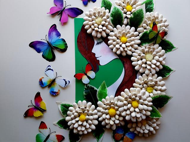 prace plastyczne wiosna - pani wiosna - dekoracja sali - dekoracja okna - kids crafts - crafts for kids - kreatywnie kreatywnie z dzieckiem - wiosenne kwiaty - kwiaty z fasoli - diy - do it yourself - spring - spring crafts - pory roku