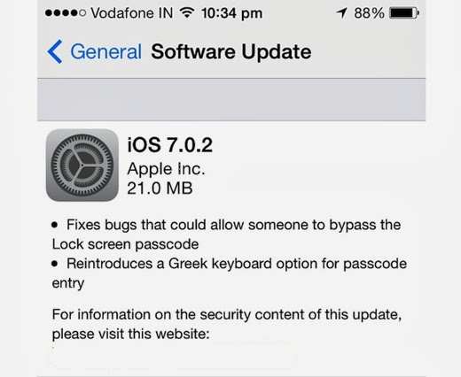 IOS 7.0.2 will correct the flaws that bypass the security lock screen Apple devices.