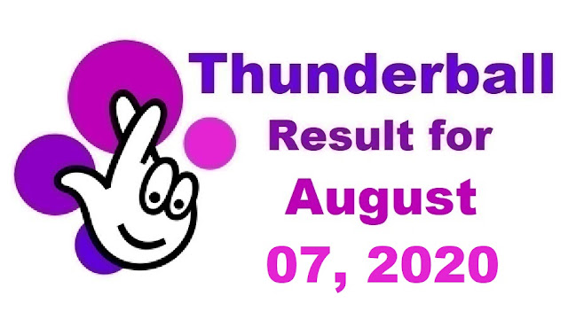 Thunderball Results for Friday, August 07, 2020