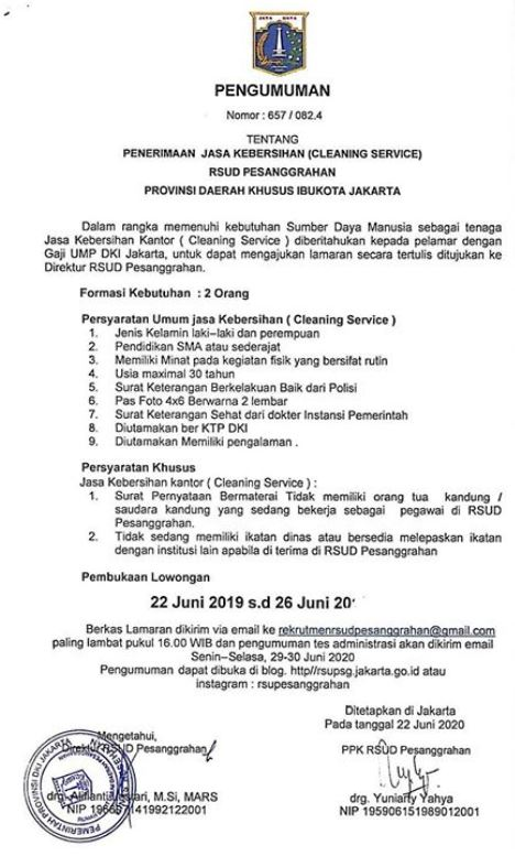 Rekrutmen Pegawai Non PNS dan PJLP RSUD Pesanggrahan