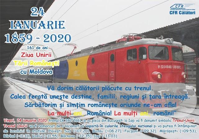 Trenul Unirii pleacă, mâine, la ora 06,25, din Gara de Nord spre Iași