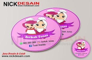 Contoh Desain Logo Stiker Label bulat warna Pink - Percetakan Tanjungbalai