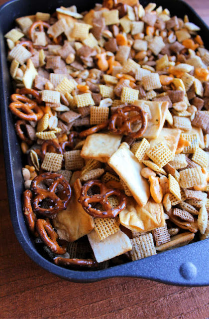 pan of ranch snack mix fresh from the oven